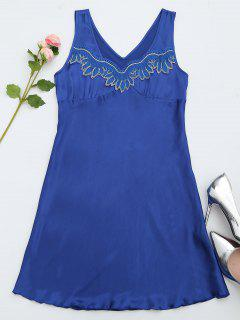 Lace Trim Satin Sleep Tank Dress - Bleu Saphir L