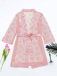 Grosgrain Belt Sheer Lace Sleep Robe - Pink