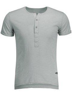 T-shirt Blanc Basique En Coton  - Gris Clair M