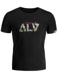 Short Sleeve Graphic Camo T-shirt - Black L
