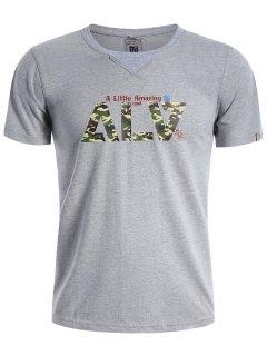 Camiseta De Manga Corta Gráfica Hombres Camo - Gris Xl