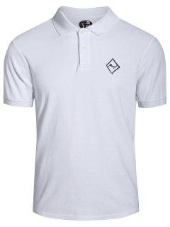 Men Embroidered Polo T Shirt - White L