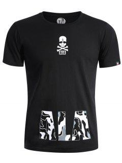 Round Neck Skull Print Graphic T Shirt - Black L