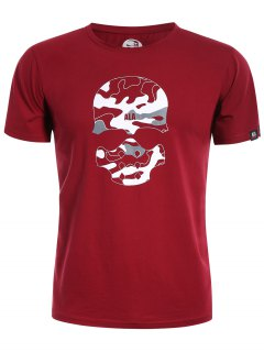 Graphic Skull Print Camo Tee - Red L