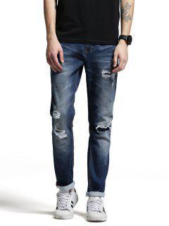 Zip Fiy Men Ripped Jeans - Denim Blue 34