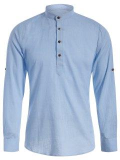 Chemise Jean à Demi-Boutons à Col Mao - Bleu Clair L