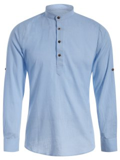 Mandarin Collar Half Button Denim Shirt - Light Blue S