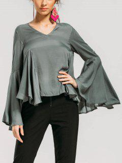 Ruffles Flare Sleeve Baggy Blouse - Sage Green S