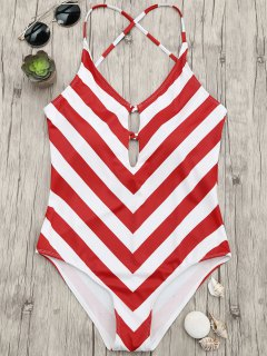 Chevron Stripe Shaping Plunge One Piece Swimsuit - Red And White L
