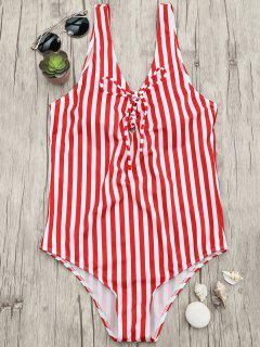Lace Up Striped One Piece Swimsuit - Red And White M