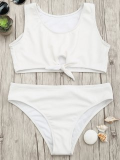 Textured Knotted Crop Bikini Set - White S