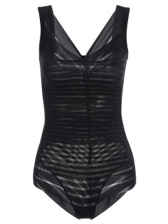 Underbust Sheer Stripe Body Corset Shaper - Black M