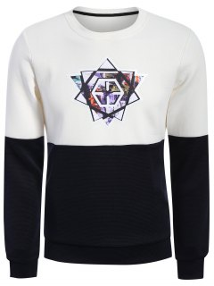 Pullover Graphic Color Block Sweatshirt - White And Black 2xl