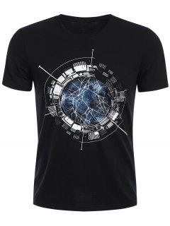 Camiseta Para Hombre De Manga Corta Con Cremallera - Negro Xl
