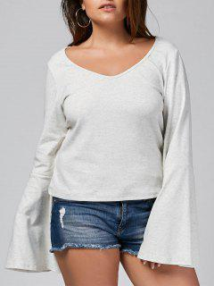 Bell Sleeve Plus Size Heathered T-shirt - Grey White 2xl