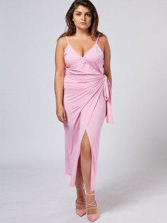 Plus Size Slip Asymmetrical Wrap Dress - Light Purple 4xl