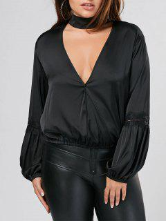 Puff Sleeve Plus Size Choker Top - Noir 4xl