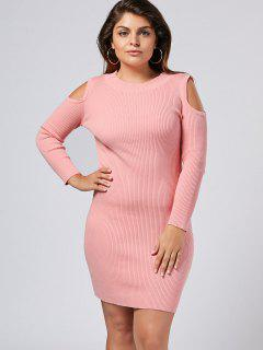 Plus Size Cold Shoulder Ribbed Sweater Dress - Pink 4xl
