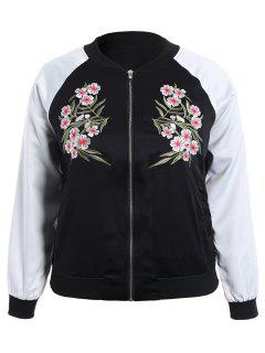 Plus Size Embroidered Raglan Sleeve Baseball Jacket - Black 4xl