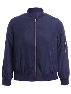Plus Size Zippered Bomber Jacket - Blue Xl