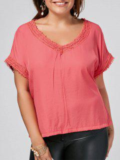 Batwing Plus Size Lace Trim Top - Peach Red 2xl