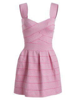 Sweetheart Neck Puffball Mini Dress - Pink