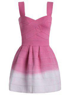 Sweetheart Neck Ombre Mini Dress - Papaya