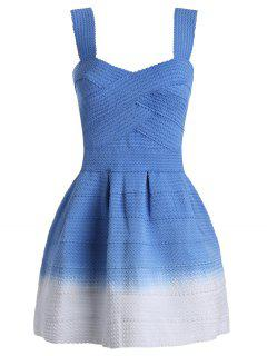 Cuello Cuello Ombre Mini Vestido - Azul