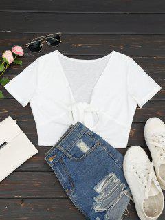 T-shirt Court Cut Out Col Plongeant - Blanc Xl