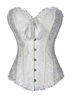 Lace Up Brocade Corset With Thong Panty - White M