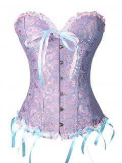 Corset à Gorge Noire Bowknot Avec String - Bleu Et Rose M