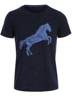 Short Sleeve Animal Horse Print T-shirt - Deep Blue L