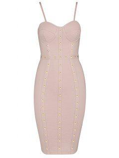 Embellished Cami Bandage Dress - Pink L