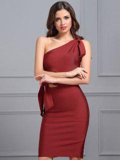 One Shoulder Cut Out Fitted Dress - Red L