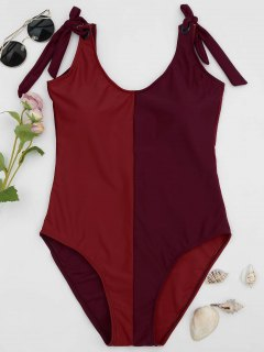 Shaping Colorblock One Piece Swimsuit - Red Xl