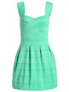 Sweetheart Neck Jacquard Puffball Dress - Lake Green