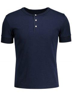 Crewneck Short Sleeve Henley Mens Top - Purplish Blue L