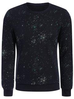 Patterned Jewel Neck Pullover Sweatshirt - Deep Blue 2xl