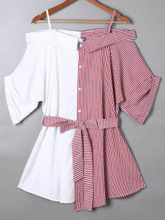 Off The Shoulder Pinstripe Blouse - Red L