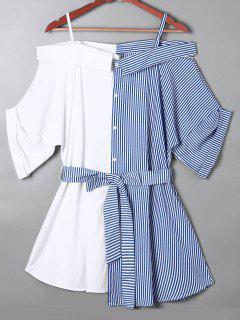 Blouse Contrastante Rayée Col Bardot - Bleu 2xl