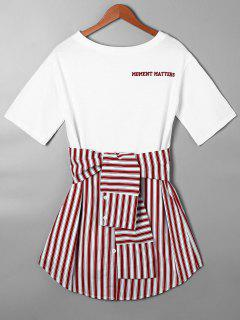 Striped Tie Belt Curved Hem Tee Dress - Red M