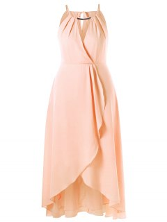 Plus Size Cut Out Overlap Flowing Dress - Pinkbeige 5xl