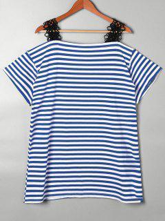 Lace Trim Striped Open Shoulder T-shirt - Blue S
