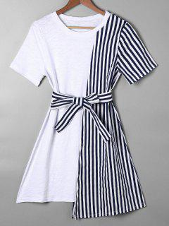 Striped Asymmetrical Mini Tee Dress - Blue S