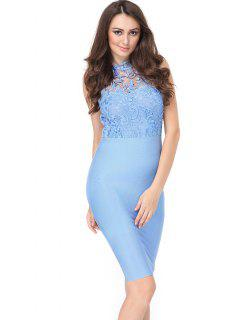 Lace Panel Sleeveless Fitted Dress - Sky Blue L