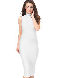 High Neck Sleeveless Bandage Dress - White M
