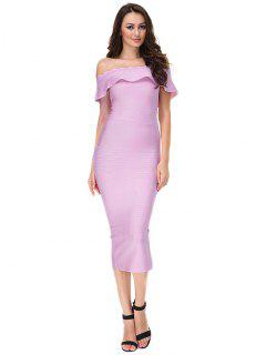 Off The Shoulder Flounce Bandage Dress - Pinkish Purple L
