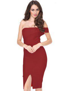 One Shoulder Slit Fitted Dress - Red L
