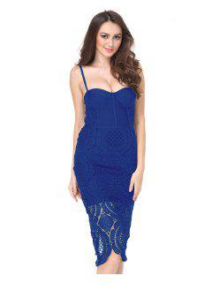 Hollow Out Back Slit Cami Dress - Blue M