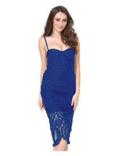 Hollow Out Back Slit Cami Dress - Blue L